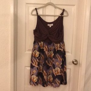 Lilka Sz XL twist print dress Purple Tan White